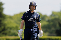 Eoin Morgan of Middlesex departs the field having been given out (lbw Harmer) during Middlesex vs Essex Eagles, Royal London One-Day Cup Cricket at Radlett Cricket Club on 17th May 2018