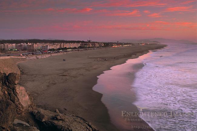 Sunset over Ocean Beach, San Francisco, California