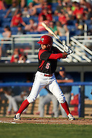 Batavia Muckdogs designated hitter Aaron Knapp (5) at bat during a game against the State College Spikes on June 24, 2016 at Dwyer Stadium in Batavia, New York.  State College defeated Batavia 10-3.  (Mike Janes/Four Seam Images)
