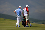 Rory McIlroy (N.IRL) with caddy J.P. Fitzgerald wait to play on the 18th hole during Day 1 of the Volvo World Match Play Championship in Finca Cortesin, Casares, Spain, 19th May 2011. (Photo Eoin Clarke/Golffile 2011)