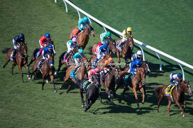 DEL MAR, CA - NOVEMBER 04: The field during the Breeders' Cup Filly & Mare Turf on Day 2 of the 2017 Breeders' Cup World Championships at Del Mar Thoroughbred Club on November 4, 2017 in Del Mar, California. (Photo by Ting Shen/Eclipse Sportswire/Breeders Cup)