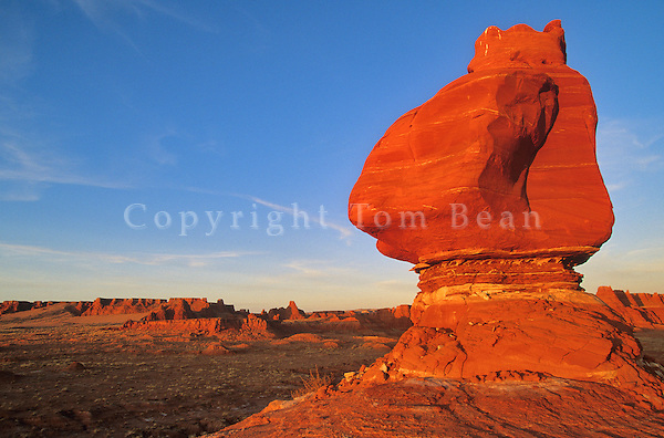 Balanced rock on Ward Terrace, Adeii Eechii Cliffs at sunset, Western Painted Desert, Navajo Reservation, Arizona, AGPix_0046 .