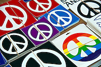 Peace Symbol, Auto, Car, Bumper Stickers, Third Street Promenade, Downtown,  Santa Monica; CA;