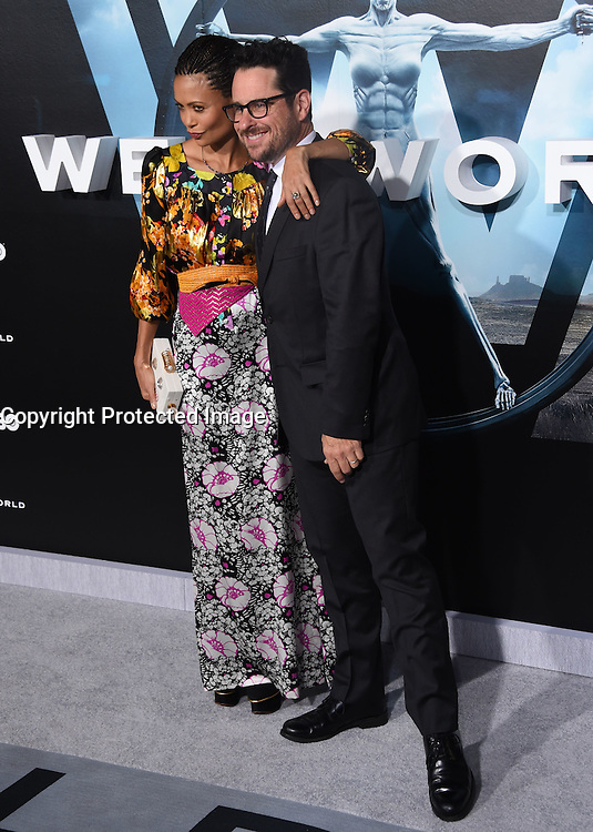 Thandie Newton + J.J. Abrams @ the premiere of HBO new drama series 'Westworld' held @ the Chinese theatre. September 28, 2016