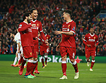 Roberto Firmino of Liverpool celebrates with Mohamed Salah of Liverpool during the Champions League Semi Final 1st Leg match at Anfield Stadium, Liverpool. Picture date: 24th April 2018. Picture credit should read: Simon Bellis/Sportimage