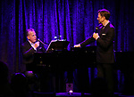 Billy Stritch and Jim Caruso performing onstage at Birdland Theater during the Media Open House Cocktail Party at the Birdland Theater on September 20, 2018 in New York City.