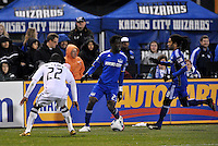 Kei Kamara (23) watched by Rodney Wallace...Kansas City Wizards defeated D.C Utd 4-0 in their home opener at Community America Ballpark, Kansas City, Kansas.