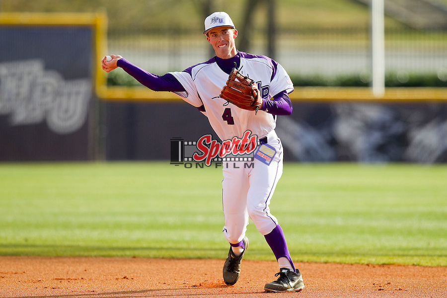 High Point Panthers second baseman Kyle Brandenburg (4) makes a throw to first base against the Ohio Bobcats at Willard Stadium on March 6, 2013 in High Point, North Carolina.  The Panthers defeated the Bobcats 4-1.  (Brian Westerholt/Sports On Film)