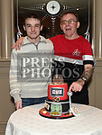 Kevin Reynolds celebrating his 50th birthday with his son Jonathan in the Thatch. Photo:Colin Bell/pressphotos.ie