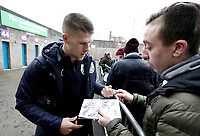 Burnley's Johann Gudmundsson signs autographs for the waiting fans as he arrives Turf Moor<br /> <br /> Photographer Rich Linley/CameraSport<br /> <br /> Emirates FA Cup Third Round - Burnley v Barnsley - Saturday 5th January 2019 - Turf Moor - Burnley<br />  <br /> World Copyright &copy; 2019 CameraSport. All rights reserved. 43 Linden Ave. Countesthorpe. Leicester. England. LE8 5PG - Tel: +44 (0) 116 277 4147 - admin@camerasport.com - www.camerasport.com