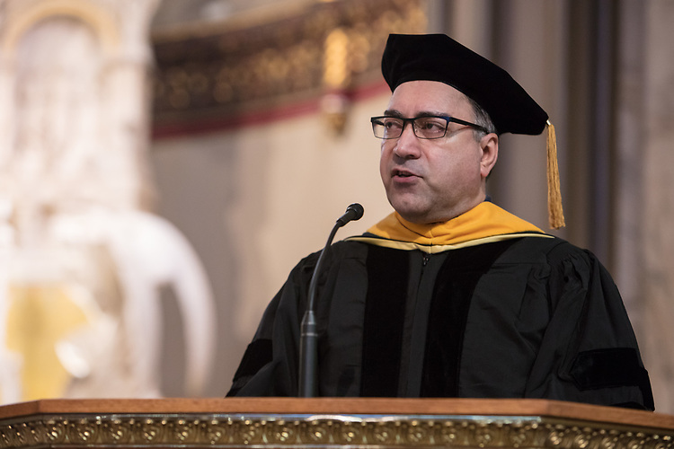 Bamshad Mobasher, Faculty Council president, addresses those in attendance during the 120th DePaul University Convocation on Thursday, August 31, 2017, at St. Vincent de Paul Parish Church. A. Gabriel Esteban, Ph.D., president, and Marten denBoer, provost, provided remarks, and many faculty and staff were recognized with annual awards including: Excellence in Teaching, Spirit of Inquiry, Excellence in Public Service, Vincent de Paul Professorship, Spirit of DePaul, Staff Quality Service, Gerald Paetsch Academic Advising and faculty promotion and tenure. (DePaul University/Jeff Carrion)