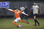 Alexander Hemmingsen (24) of the Clemson Tigers kicks the ball during second half action against the Wake Forest Demon Deacons at Spry Soccer Stadium on November 8, 2017 in Winston-Salem, North Carolina.  The Demon Deacons defeated the Tigers 2-1.  (Brian Westerholt/Sports On Film)