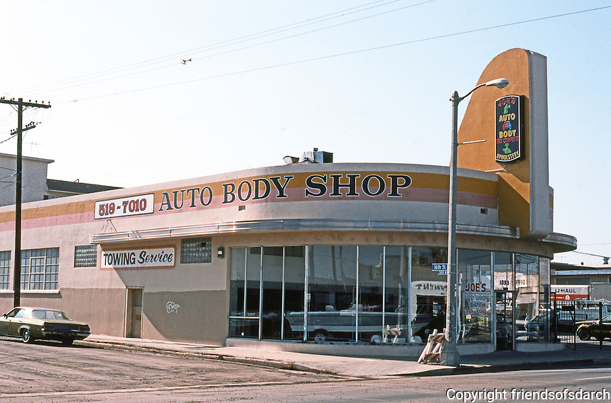San Pedro CA: Streamline Moderne commercial building, 1938. Pacific Ave. at 16th St.  Photo '89.