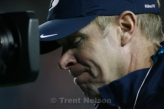 Trent Nelson  |  The Salt Lake Tribune.BYU coach Bronco Mendenhall during the second half,  BYU vs. New Mexico, Saturday, November 20, 2010.