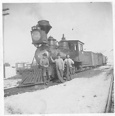 3/4 fireman's-side view of D&amp;RG #41 posing with her crew at Gunnison.<br /> D&amp;RG  Gunnison, CO