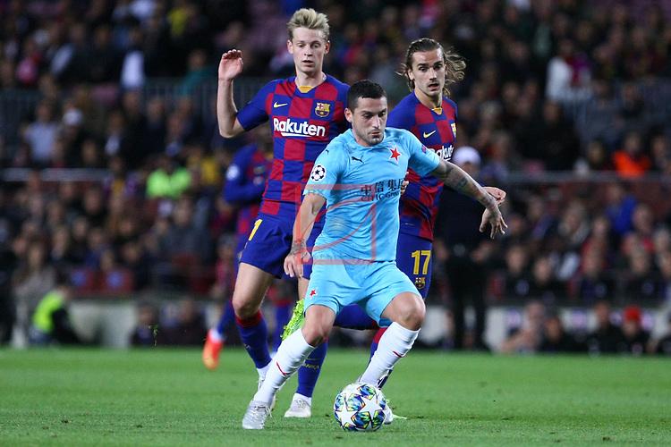 UEFA Champions League 2019/2020.<br /> Matchday 4.<br /> FC Barcelona vs SK Slavia Praha: 0-0.<br /> Frenkie de Jong, Nicolae Stanciu & Antoine Griezmann.