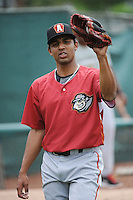 Altoona Curve pitcher Angel Sanchez (19) during game against the Trenton Thunder at ARM & HAMMER Park on August 6, 2014 in Trenton, NJ.  Trenton defeated Altoona 7-3.  (Tomasso DeRosa/Four Seam Images)