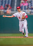 28 April 2016: Washington Nationals second baseman Danny Espinosa gets the second out of the 6th inning against the Philadelphia Phillies at Nationals Park in Washington, DC. The Phillies shut out the Nationals 3-0 to sweep their mid-week, 3-game series. Mandatory Credit: Ed Wolfstein Photo *** RAW (NEF) Image File Available ***