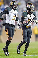 Missouri safety Ian Simon (21) celebrates an interception during first half of an NCAA football game, Saturday, November 15, 2014 in College Station, Tex. Texas A&M leads 13-6 at the halftime. (Mo Khursheed/TFV Media via AP Images)