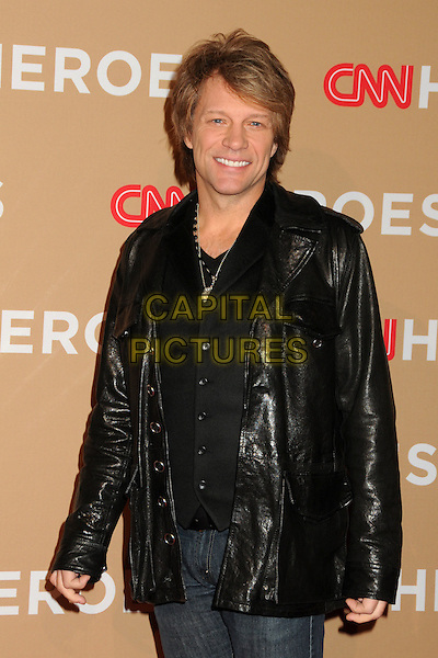 JON BON JOVI .CNN Heroes: An All-Star Tribute 2010 held at the Shrine Auditorium, Los Angeles, California, USA, .20th November 2010..half length leather jacket smiling black necklace silver .CAP/ADM/BP.©Byron Purvis/AdMedia/Capital Pictures.