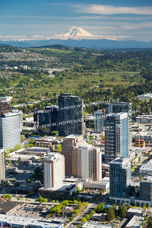 aerial photo of downtown Bellevue with Mount Rainier in the background