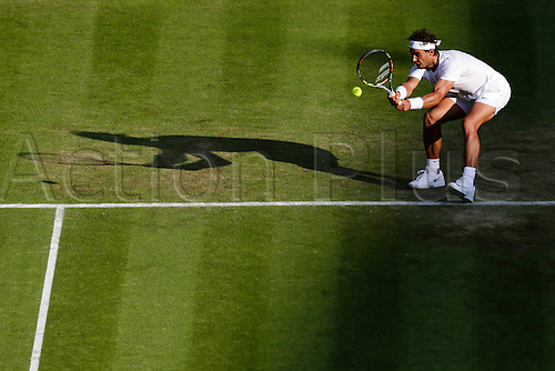 02.07.2015.  Wimbledon, England. The Wimbledon Tennis Championships. Gentlemen's Singles second round match between tenth seed Rafael Nadal (ESP) and Dustin Brown (GER).  Rafael Nadal in action