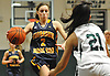 Mikayla Dwyer #2 of Shoreham-Wading River dribbles downcourt as Christiana de Borja #21 of Harborfields guards her during the Suffolk County varsity girls basketball Class A semifinals at Harborfields High School in Greenlawn, NY on Tuesday, Feb. 21, 2017.