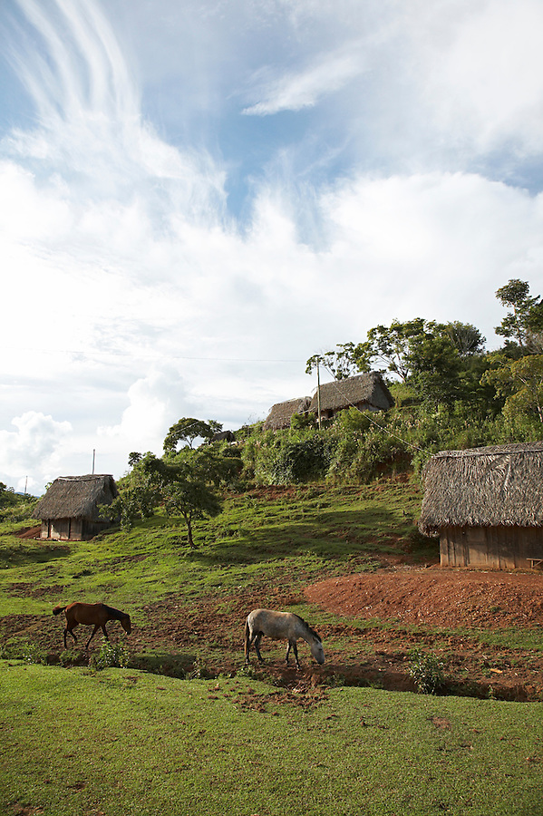 Small village of Santiago near Chimate in the Yungas region of Bolivia.
