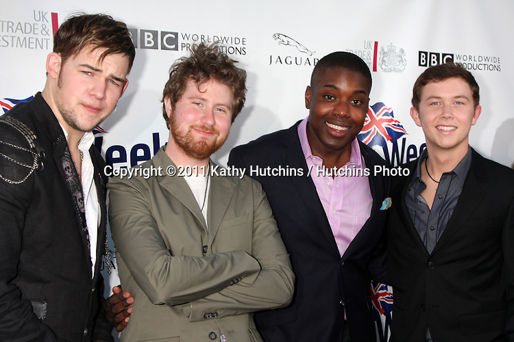 LOS ANGELES - APR 26:  James Durbin, Casey Abrams, Jacob Lusk, Scotty McCreery arriving at the 5th Annual BritWeek Launch Party at British Consul General's residence on April 26, 2011 in Los Angeles, CA..