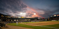 Sunset during the Pacific Coast League baseball game on June 9, 2015 at the Dell Diamond in Round Rock, Texas. (Andrew Woolley/Four Seam Images)