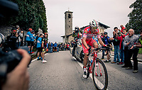 Fausto Masnada (ITA/Androni Giocattoli - Sidermec) is the first rider at the top of the Madonna del Ghisallo (754m)<br /> <br /> 113th Il Lombardia 2019 (1.UWT)<br /> 1 day race from Bergamo to Como (ITA/243km)<br /> <br /> ©kramon
