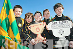 Black and Amber: Aiden Shanahan, Fergal Wall, Darragh Breen, Darren Loughnane and Eddie Browne of the Listowel Emmet's taking part  in the St Patrick's Day parade in Listowel on Tuesday.