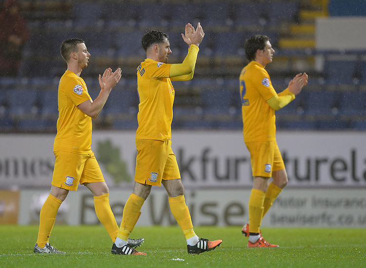 Preston North End players celebrate towards the fans at the end of the game<br /> <br /> Photographer Dave Howarth/CameraSport<br /> <br /> Football - The Football League Sky Bet Championship - Burnley v Preston North End - Saturday 5th December 2015 - Turf Moor - Burnley<br /> <br /> &copy; CameraSport - 43 Linden Ave. Countesthorpe. Leicester. England. LE8 5PG - Tel: +44 (0) 116 277 4147 - admin@camerasport.com - www.camerasport.com