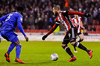 Sheffield United's forward Leon Clarke (9)  during the Sky Bet Championship match between Sheff United and Cardiff City at Bramall Lane, Sheffield, England on 2 April 2018. Photo by Stephen Buckley / PRiME Media Images.