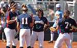 Coronado pitcher Danielle Amato talks with her infield during their game against Reed High School in the 4A softball state tournament at the University of Nevada, Reno on Friday, May 19, 2012. Coronado won 6-1 to advance to Saturday's championship game. .Photo by Cathleen Allison
