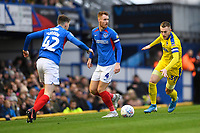Joe Pigott of AFC Wimbledon right about to be tackled by Steve Seddon of Portsmouth during Portsmouth vs AFC Wimbledon, Sky Bet EFL League 1 Football at Fratton Park on 11th January 2020