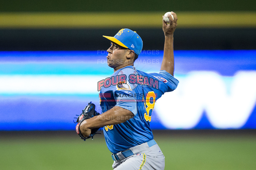 Myrtle Beach Pelicans starting pitcher Daury Torrez (38) in action against the Winston-Salem Dash at BB&T Ballpark on August 20, 2015 in Winston-Salem, North Carolina.  The Dash defeated the Pelicans 5-4 on a walk-off wild pitch in the bottom of the 9th inning.  (Brian Westerholt/Four Seam Images)