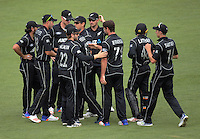 The Black Caps celebrate the dismissal of Faf du Plessis during the One Day International cricket match between the New Zealand Black Caps and South Africa Proteas at Westpac Stadium in Wellington, New Zealand on Saturday, 25 February 2017. Photo: Dave Lintott / lintottphoto.co.nz
