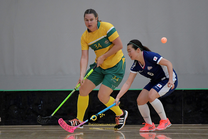 Australia's Tara Meyer in action during the World Floorball Championships 2017 Qualification for Asia Oceania Region Final - Australia v Japan at ASB Sports Centre , Wellington, New Zealand on Sunday 5 February 2017.<br /> Photo by Masanori Udagawa<br /> www.photowellington.photoshelter.com.