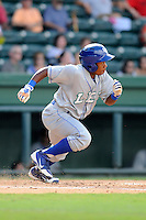 Outfielder Terrance Gore (6) of the Lexington Legends in a game against the Greenville Drive on Sunday, July 21, 2013, at Fluor Field at the West End in Greenville, South Carolina. Lexington won, 2-0. (Tom Priddy/Four Seam Images)