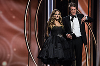 Sarah Jessica Parker and Hugh Grant on stage at the 75th Annual Golden Globe Awards at the Beverly Hilton in Beverly Hills, CA on Sunday, January 7, 2018.<br /> *Editorial Use Only*<br /> CAP/PLF/HFPA<br /> &copy;HFPA/PLF/Capital Pictures