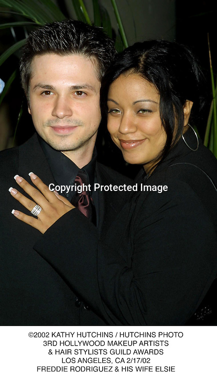 ©2002 KATHY HUTCHINS / HUTCHINS PHOTO.3RD HOLLYWOOD MAKEUP ARTISTS.& HAIR STYLISTS GUILD AWARDS.LOS ANGELES, CA 2/17/02.FREDDIE RODRIGUEZ & HIS WIFE ELSIE