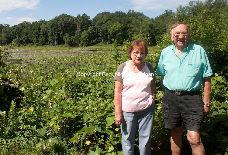 WATERBURY- JULY 10 2014 070914DA06- Neighbors on Allen St. in Waterbury Antoinette D'Almeida, left, and Wayne Thompson stand infront of Pritchard's Pond in Waterbury on Wednesday.<br /> Darlene Douty Republican American