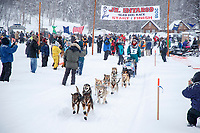 Charmayne Morrison leaves the start of the 2018 Junior Iditarod Sled Dog Race on Knik Lake in Southcentral, Alaska.  Saturday February 24, 2018<br /> <br /> Photo by Jeff Schultz/SchultzPhoto.com  (C) 2018  ALL RIGHTS RESERVED