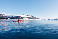 Sea kayaking is a great way to explore Cierva Cove on the Antarctic Peninsula.