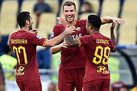 Justin Kluivert of AS Roma (R) celebrates after scoring the goal of 4-0 with team mates Henrix Mkhitaryan and Edin Dzeko of AS Roma <br /> Roma 15/09/2019 Stadio Olimpico <br /> Football Serie A 2019/2020 <br /> AS Roma - US Sassuolo <br /> Photo Andrea Staccioli / Insidefoto