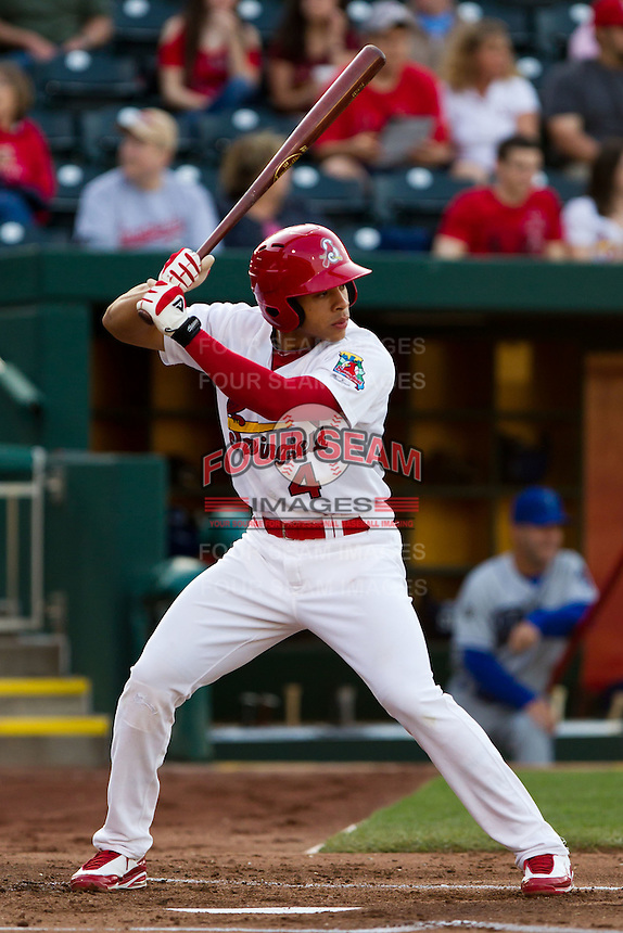Thomas Pham (4) of the Springfield Cardinals at bat during a game against the Tulsa Drillers on April 29, 2011 at Hammons Field in Springfield, Missouri.  Photo By David Welker/Four Seam Images.