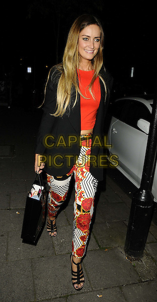 Francesca Newman-Young<br /> The KEY Fashion new online fashion boutique launch party, Vanilla, London, England.<br /> September 25th, 2013<br /> full length white top black jacket blazer floral print trousers  <br /> CAP/CAN<br /> &copy;Can Nguyen/Capital Pictures