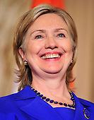 United States Secretary of State Hillary Rodham Clinton smiles during a reception in honor of Foreign Minister S.M. Krishna of India (not pictured) at the State Department  in Washington, D.C. on Thursday, June 3, 2010..Credit: Ron Sachs - Pool via CNP