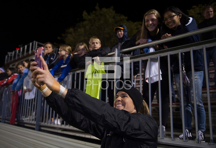 Boyds, MD - Saturday September 30, 2017: Lydia Williams and fans during a regular season National Women's Soccer League (NWSL) match between the Washington Spirit and the Seattle Reign FC at Maureen Hendricks Field, Maryland SoccerPlex.